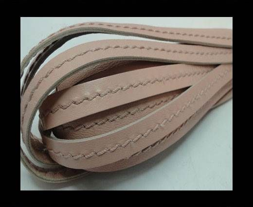 Real Nappa Leather with stitch in the middle-5mm-Pastel Pink