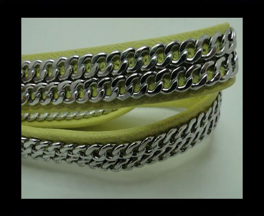 Real Nappa Leather Chain Stitched-10mm-Double-Yellow