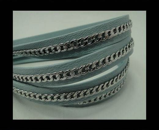 Real Nappa Leather Chain Stitched-10mm-Single-Sky Blue