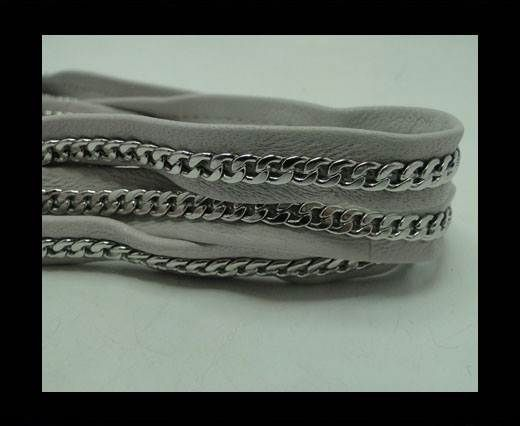 Real Nappa Leather Chain Stitched-10mm-Single-Grey