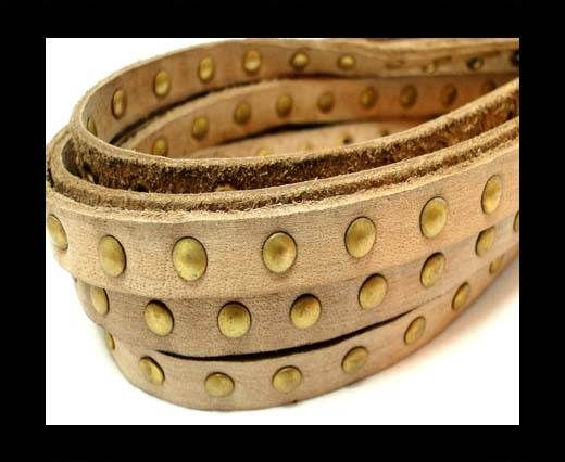 Real Nappa Leather with studs-10mm-Vintage Beige