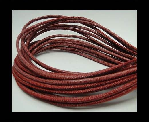 Real Round Nappa Leather cords - Lizard Prints-Red Lizard- 2.5mm