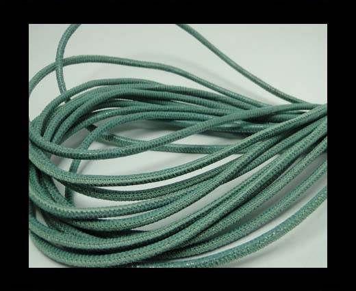 Real Round Nappa Leather cords - Lizard Prints-Menta Lizard- 2.5