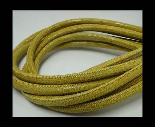 Real Round Nappa Leather cords - Lizard Prints -Yellow Lizard- 6