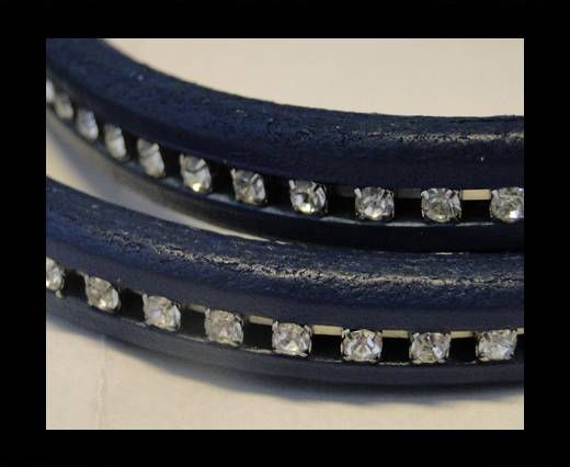 Cuir Regaliz avec cristaux - Bleu