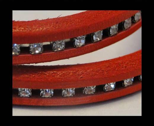 Cuir Regaliz avec cristaux - Rouge