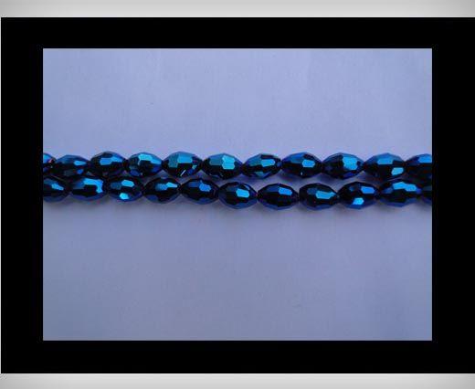 Rice Glass Beads-4mm*6mm-Metallic Blue