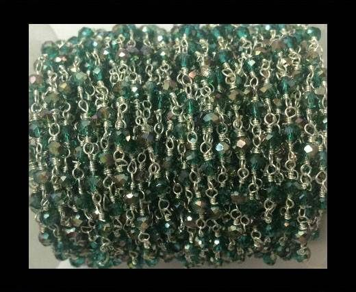 Rosary chains with glass beads -Emerald