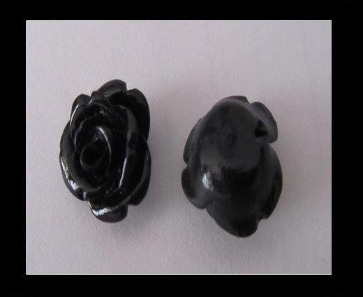 Rose Flower-14mm-Black