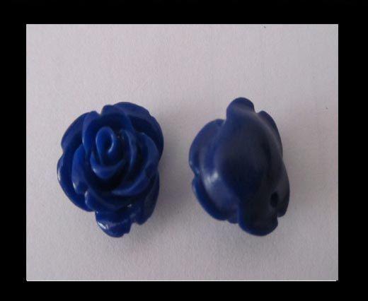 Rose Flower-14mm-Dark Blue