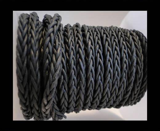 Cordon cuir tressé- Gris foncé- 4 mm