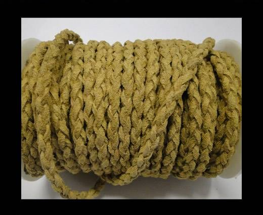 Round Braided Suede Cord - 4mm - Beige