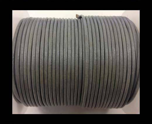Cordon cuir Rond –Gris Pastel Métallique- 2mm