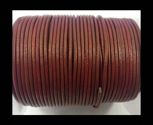 Cordon cuir Rond - Rouge Métallique- 2mm