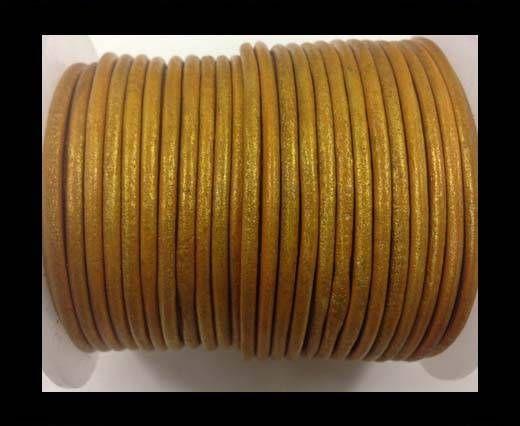 Cordon cuir Rond - Or Métallique- 3 mm