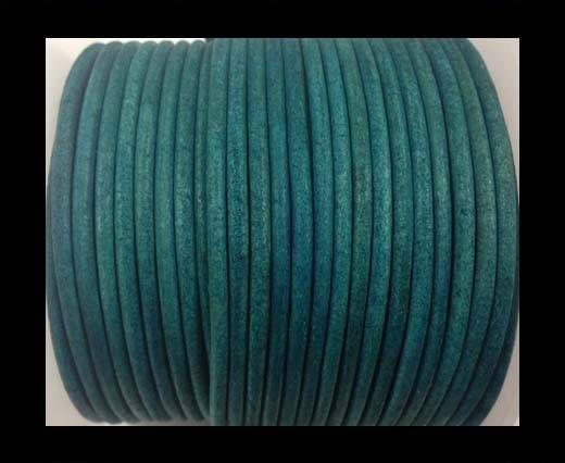 Cordon cuir Rond - Vintage Turquoise - 3 mm