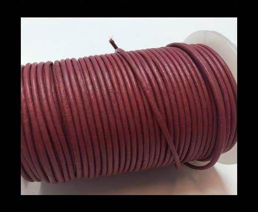 Round Leather Cord  - Dark Pink - 1mm