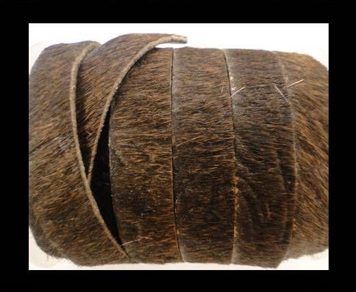 Cuir naturel avec poil - 5mm - dark brown