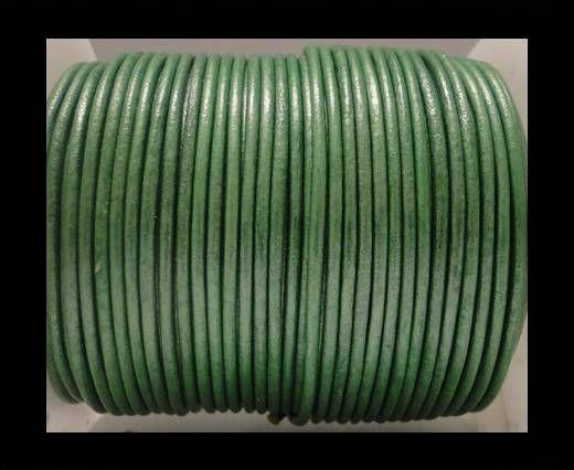 Cordon Cuir Rond SE/R- Vert Pomme Métallique - 3mm