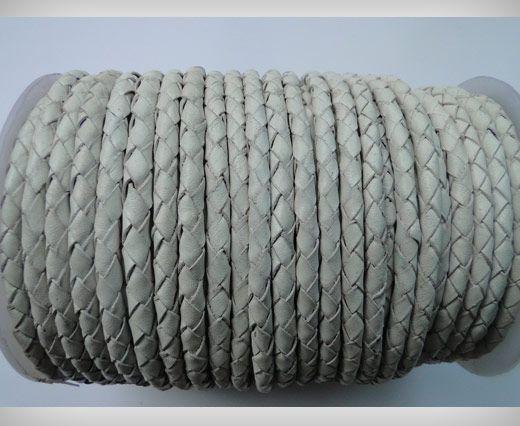 Cordon cuir tressé - SE-PB-Blanc - 6mm