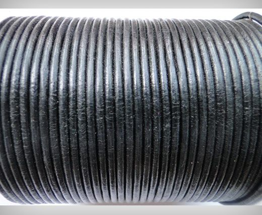 Cordon de cuir SE/R/02 - Black - 4mm