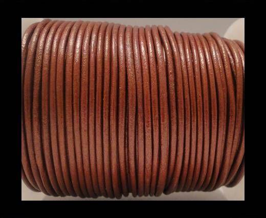 Cordon Cuir Rond SE/R/Bordeaux Métallique - 2mm