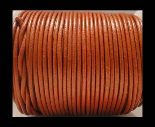Cordon Cuir Rond SE/R/Orange Métallique - 2mm