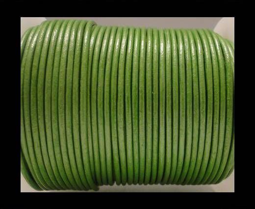 Cordon Cuir Rond SE/R/Vert Olive Métallique - 2mm
