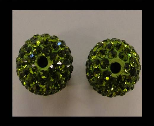 Perle Shamballa - 10mm - Vert olive