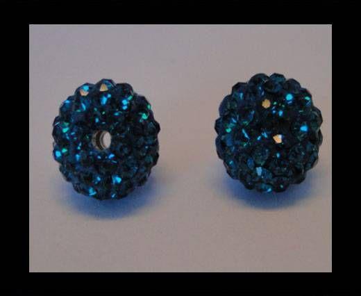 Perle Shamballa - 10mm - Bleu zircon