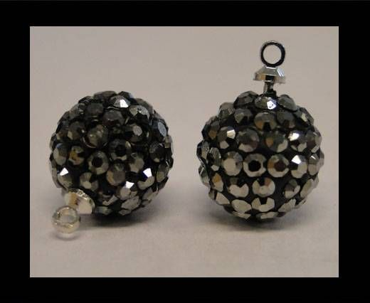 Perle Shamballa avec boucle - 8mm - Hematite