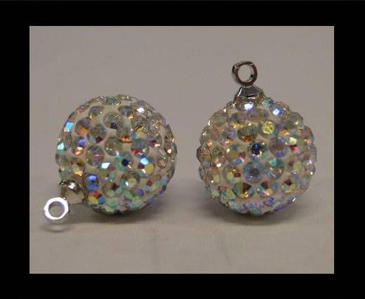 Perle Shamballa avec boucle - 10mm - Cristal AB