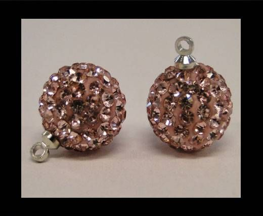 Perle Shamballa avec boucle - 8mm - Rose clair