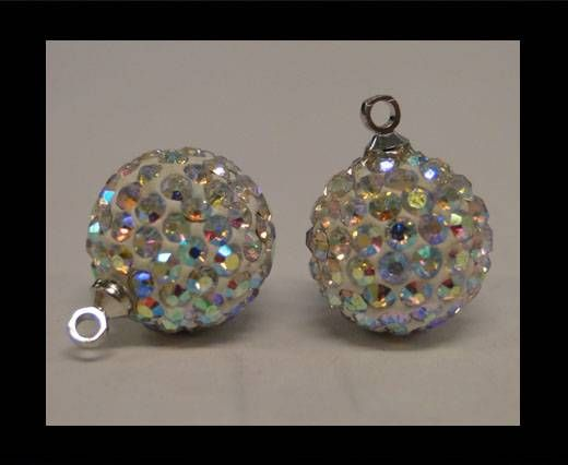 Perle Shamballa avec boucle - 12mm - Cristal AB