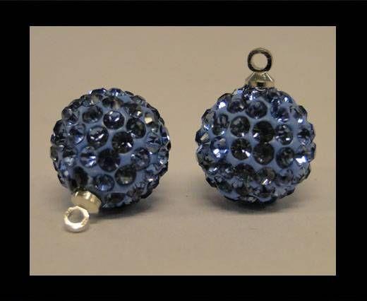 Perle Shamballa avec boucle - 12mm - Saphir clair