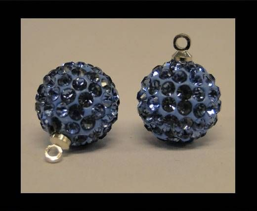 Perle Shamballa avec boucle - 14mm - Saphir clair
