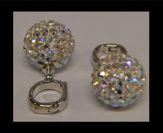 Perle Shamballa avec crochet - 12mm - Cristal AB