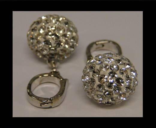 Perle Shamballa avec crochet - 12mm - Cristal