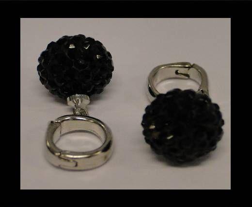 Perle Shamballa avec crochet - 12mm - Jais