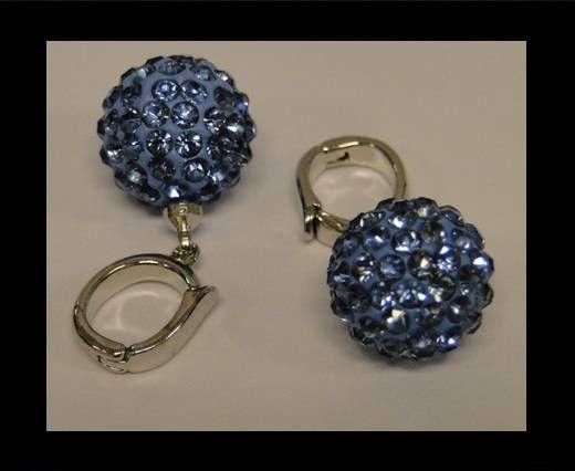 Perle Shamballa avec crochet - 12mm - Saphir clair