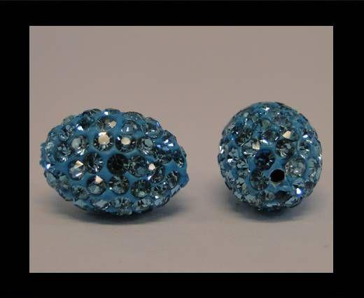 Perle Shamballa ovale - Turquoise