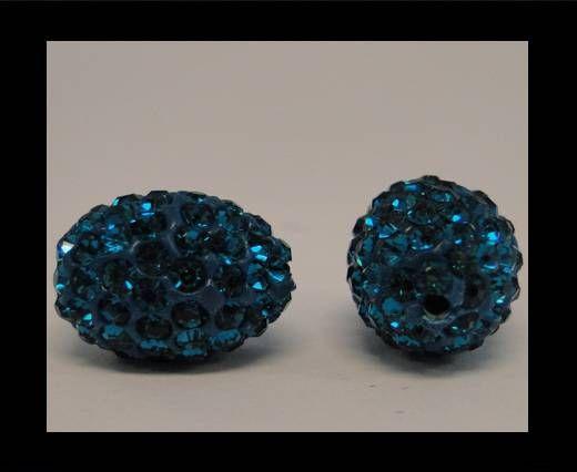 Perle Shamballa ovale - Bleu zircon