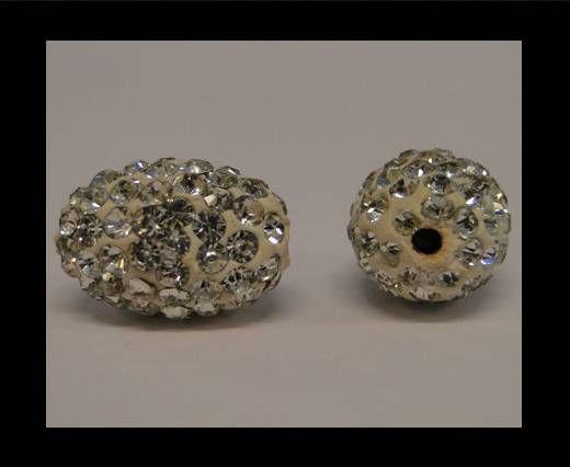 Perle Shamballa ovale - Cristal