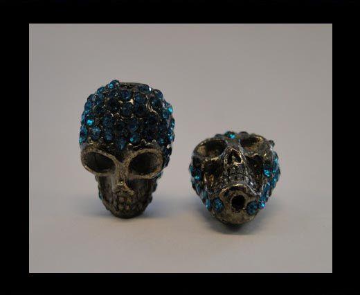 Tête de mort Shamballa - Bleu Bermudes