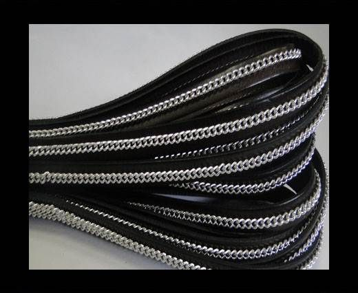 Stainless steel chain on leather-style 14-10mm-Dark Brown