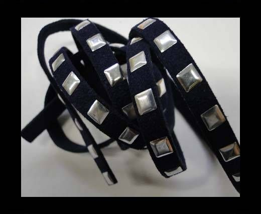 Suede Cord with studs-7mm-Navy Blue