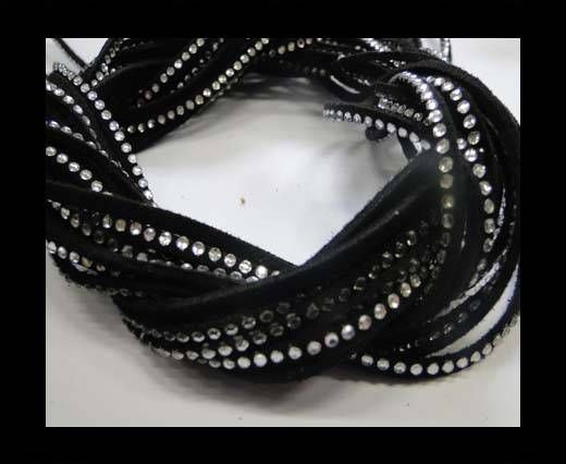 Suede Cords with Crystals 3mm-Black