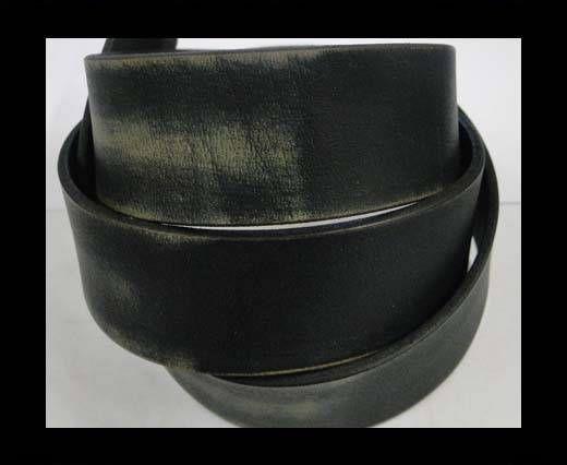 Vintage Style Flat Leather - 30mm-black