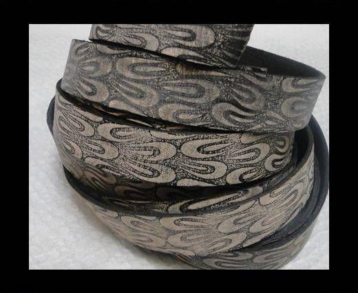 Vintage Style Flat Leather - 14mm-Vintage Black Pattern