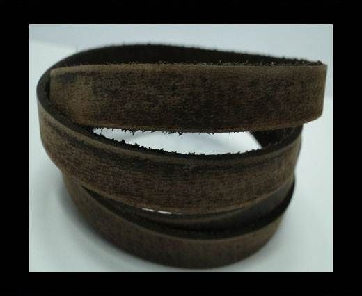 Vintage Style Flat Leather - 10mm-Dark Brown